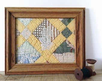 Quilt wall art, quilted decor, yellow green quilt, country quilt, framed quilt piece, farmhouse quilt, rustic quilt art, pine green yellow