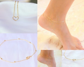Cute heart Anklet - Layered Gold Anklet Set, 2 Gold Anklets - Gold Bead Anklet, heart Anklet, Set Of 2 Anklets