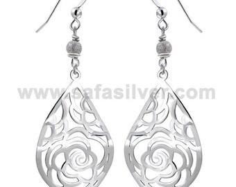 Laser cut earrings, Silver Filigree Earrings, Delicate Jewelry, Statement Earrings, Rose Earrings,Filigree Earrings
