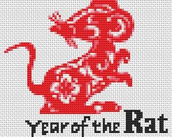 Mouse Cross Stitch Chart, Year of the Rat Cross Stitch Pattern PDF, Chinese Zodiac Cross Stitch, Art Cross Stitch, Embroidery Chart