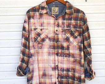 LARGE - Flannel Shirt - Bleached - Vintage Washed Flannel - Oversized Flannel - Distressed Flannel - Plaid Shirt - Fall Shirt - #111 BM