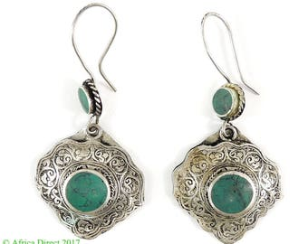 Earrings Silver Turquoise Insets Afghanistan 114413