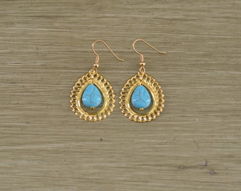 CLOSEOUT Turquoise and Gold Teardrop Earrings - Turquoise Bridesmaid Jewelry - Gold Filigree Earrings - Gold Turquoise Drop Earring