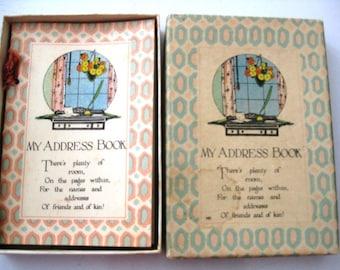 Carnet d'adresses Vintage Art déco dans boîte d'origine, non utilisé, projets de rouille, très bon état