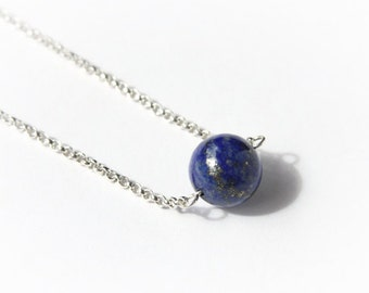 Lapis Lazuli Necklace Sterling Silver Chain Necklace Royal Blue Navy Blue Lapis Lazuli Beads Natural Gemstone Minimal Necklace #16437