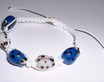 Blue Ladybug inspired macrame kids bracelet