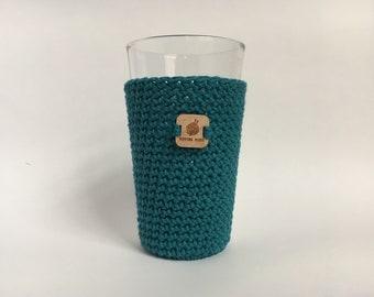 Pint Glass Sleeve, Teal - beer cozy - pint glass cozy - crochet cup sleeve - cold cup sleeve cold beverage sleeves