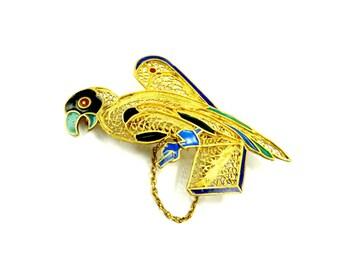 Gold Bird Brooch, Bird Pins, Parrot Jewelry, Parrot Brooch, Gold Filigree Enamel Brooch, Art Deco Jewelry, Bird Lovers, Parrot Lovers