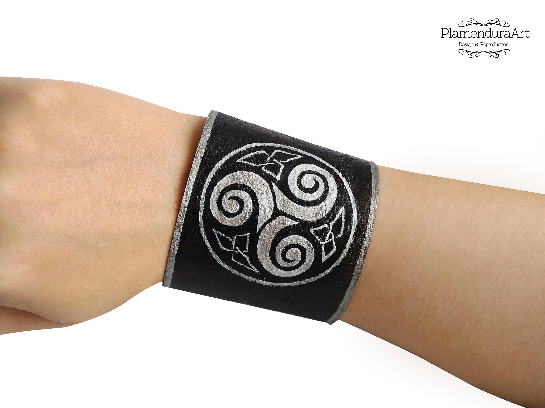 Triskele Triple Spiral Triskelion Bracelet Hand Painted