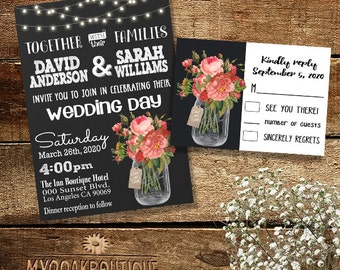 Country Wedding invitation Rustic chic mason jar pink vintage flowers chalkboard digital printable Suite Invitation RSVP you print 14003