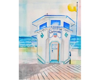 Lifeguard Tower Art-Laguna Beach Art-Beach Decor-Ocean Print-Ocean-Beach Painting-Beach-California-Nautical Wall Art-Beach Art Print