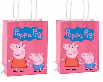 Shipping for party bags is now available see description)Peppa Pig Party Favor Bag~ Peppa pig Inspired Decorations & Decor instant download