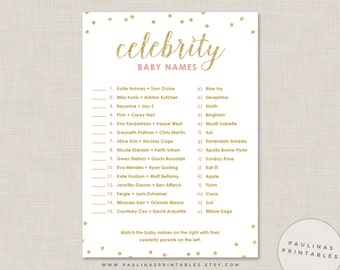 Celebrity Baby Name Game, Pink and Gold Shower Game, Baby Shower Games, Glitter Dots, Gold Baby Shower, Celebrity Baby Names