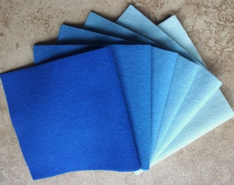 """Hand Dyed Felted Wool Gradation, FRENCH BLUE, Value Gradient in Sweet Sapphire and Sky Blues, 6 pcs. 6.5"""" x 16"""" Each"""