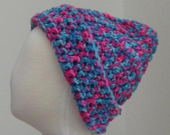 Flourescent pink, aqua, and purple variegated hat M (T3-T4)