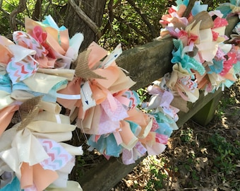 Coral and Aqua Boho Chic Fabric Garland for Bridal Shower or Boho Wedding.  6-10 Foot Handmade Banner.  Eco-Friendly Party Decoration