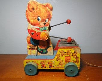 Fisher Price Tiny Teddy Pull Toy - No 634 - Made In 1955 - Great Find!