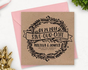 Printable Save the Date Postcard / Floral Save the Date / Printable Engagement Announcement / Printable Rustic Save the Date Stationery