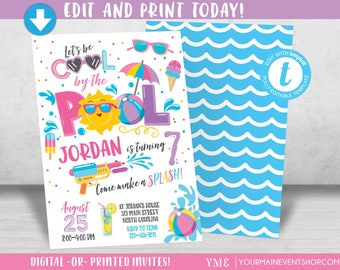 Pool Party Invitation Pool party birthday invitation Girl Pool Party birthday party invitation Cool by the Pool Summer Swim Party