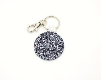 Silver and White Glitter Fabric Round Circle Key Ring Key Chain Clutch Hand Bag Charm Birthday Gift Idea