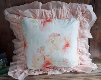 Floral Ruffle Pillow.  Pink Flower Pillow. Water Color Flower Pillow. French Country Decor. Cottage Decor. Nursery Decor. Throw Pillows