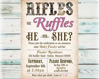 Printable Rifles or Ruffles Gender Reveal Party Invitation - Digital File