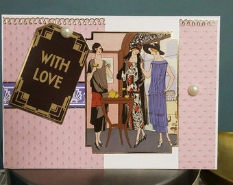 Handmade Art Deco 'With love'  Greeting Card.