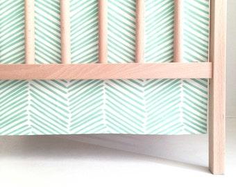 Crib Skirt Jade Freeform Arrows. Baby Bedding. Crib Bedding. Crib Skirt Boy. Baby Boy Nursery. Chevron Crib Skirt. Green Crib Skirt.
