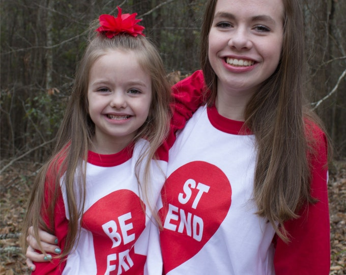 Best Friend Valentine -or not- Heart Raglan Baseball Style T Shirt Coordinating Family set for sisters, brothers, friends or lovers! All Szs