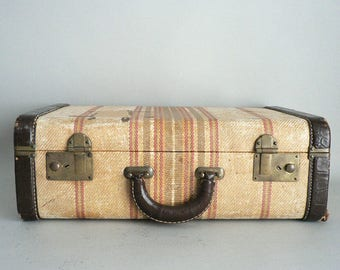 Tweed Vintage Suitcase With Stripes, Leather Trim