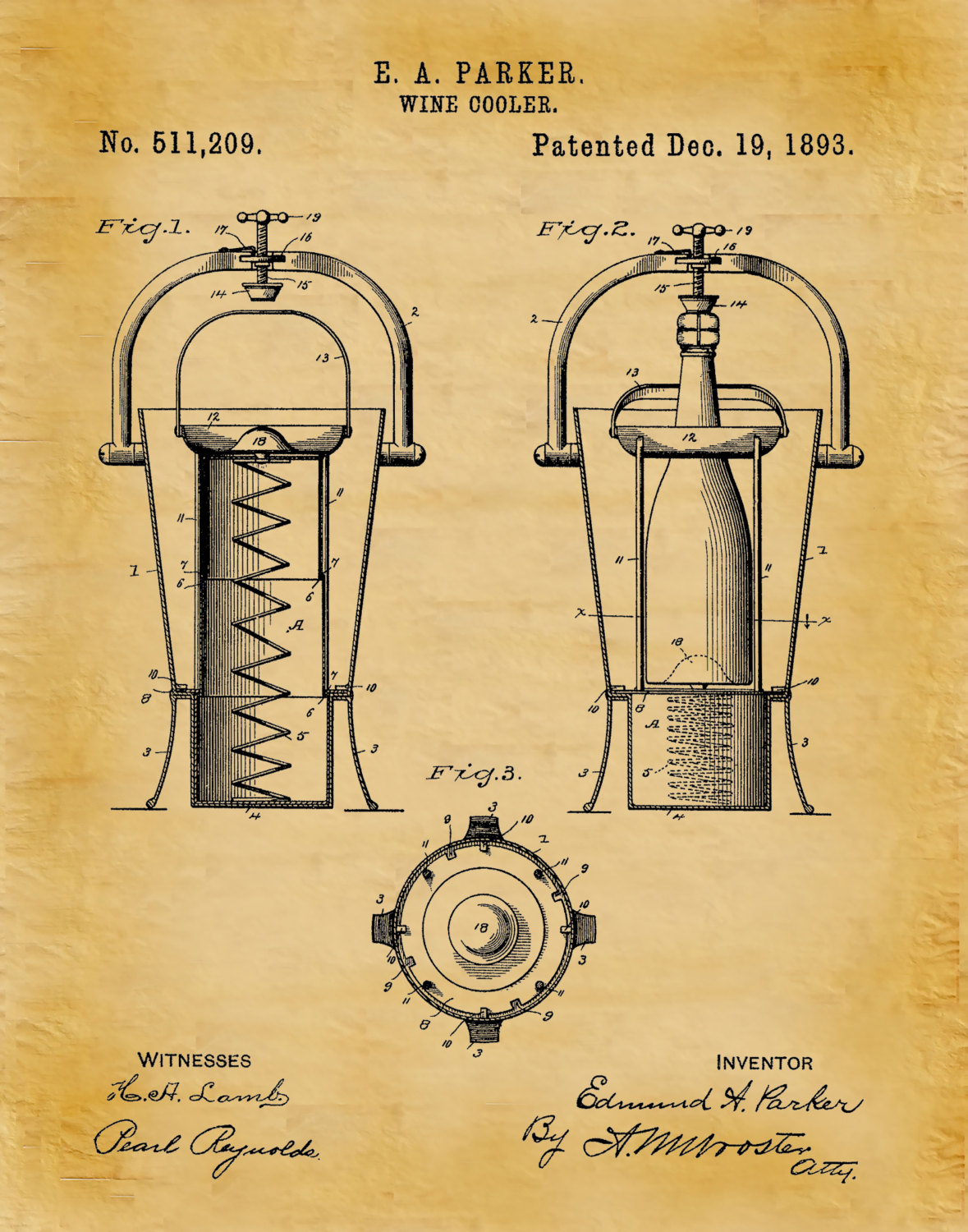 Patent 1893 Wine Cooler - Wine Art Print Poster - Wall Art - Winery ...