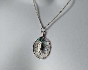 Silver Dreamcatcher #2 Pendant Necklace on a silver curb chain