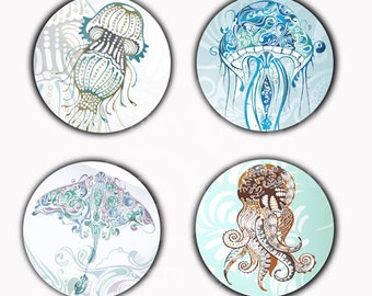 Abstract Squids Jellyfish Stingray Magnets or Pinback Buttons or Flatback Medallions