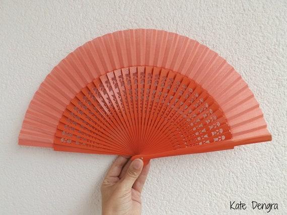 Std Fret Orange Wooden Hand Fan Customizable
