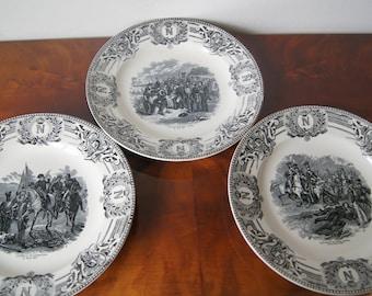 "3 Napoleon Bonaparte Plates Boch Belgium 24cm 9.5"""