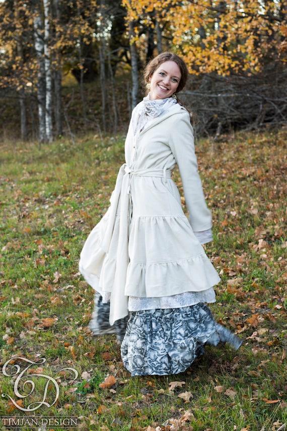 Boho coat TWILIGHT Gypsy white Long Mori JACKET lining Lagenlook Wedding Fairy Faery white Bride Bohemian Steampunk Hippie WOOL Off with rEBqBWvI