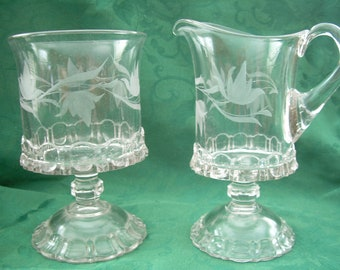 Vintage Etched Clear Glass Creamer and Sugar Bowl Set with Floral Design or can be used as Pitcher and Serving Bowl