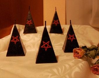 Satanic Black Candle Piramid point-down Pentagram Spiritual Satanism Ritual paganism witchcraft Satan altar Yule gift offering