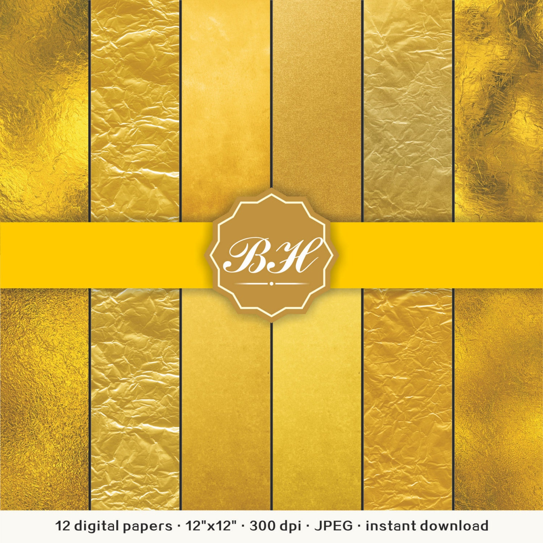 Gold Foil Digital Paper Metallic Gold Digital Paper Gold