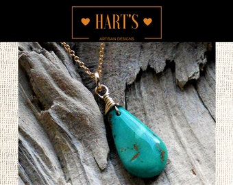 Turquoise Pendant 14K Gold Necklace