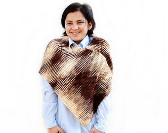 Chunky Hand Knit poncho, Merino Wool knit mix beige to brown poncho, Knitted poncho, Chunky knit poncho, unique gift for her