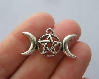 6 Triple moon charms antique silver tone HC240