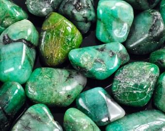 Emerald-Tumbled Emeralds-Natural Brazilian Emerald-Green Emerald-High Grade Tumbled Emerald-Natural Emerald Stone-Untreated Emerald