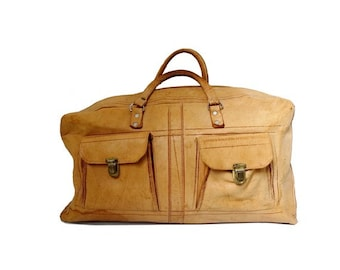 vtg Moroccan natural tan leather travel BAG // suitcases