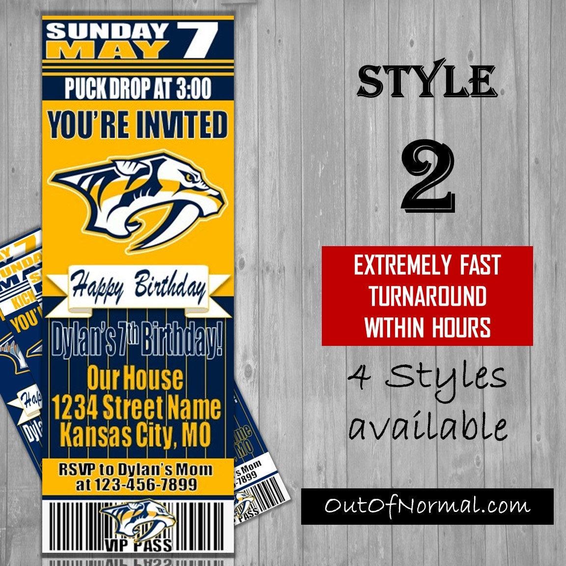 Nashville Predators Themed Birthday Invitation Tickets NHL