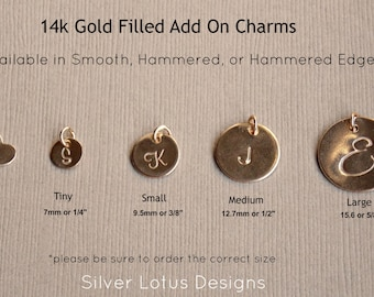 Add On Personalized Charm, Add on Charm, Initial Disc, 14k Gold Filled Round Disc Charm