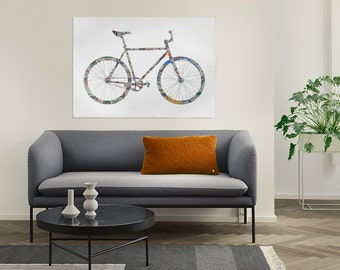 Barcelona metro fixie silhouette print - large format instant download poster - bicycle art large wall decor - fixie lovers print