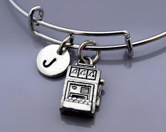 Slot machine charm bangle, Silver Slot machine bracelet, poker machine, the slots, fruit machine, gambling, gambler, Expandable bangle