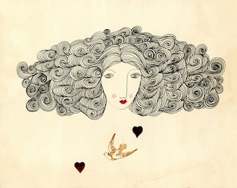 Sweetness and Love-Big Hair, Bird, Heart, Art Print