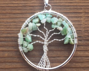 CHRYSOPRASE Tree Of Life Wire Wrapped Pendant Stone Natural Gemstone